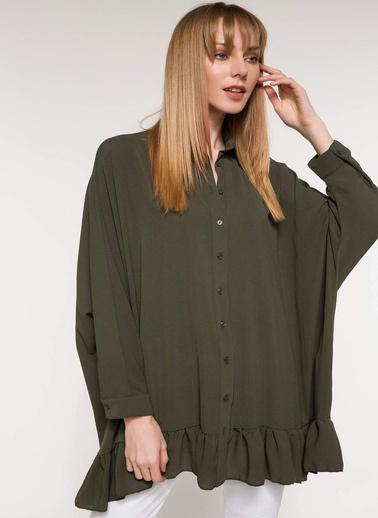 DeFacto Etek Ucu Fırfır Detaylı Gömlek Tunik Haki